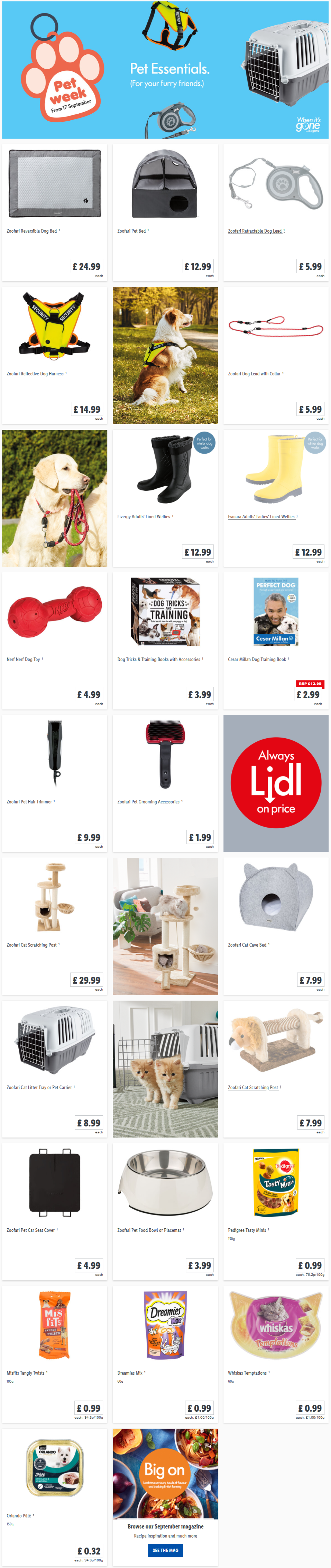 LIDL Offers this Thursday Pet Essentials From Thursday 17th September 2020