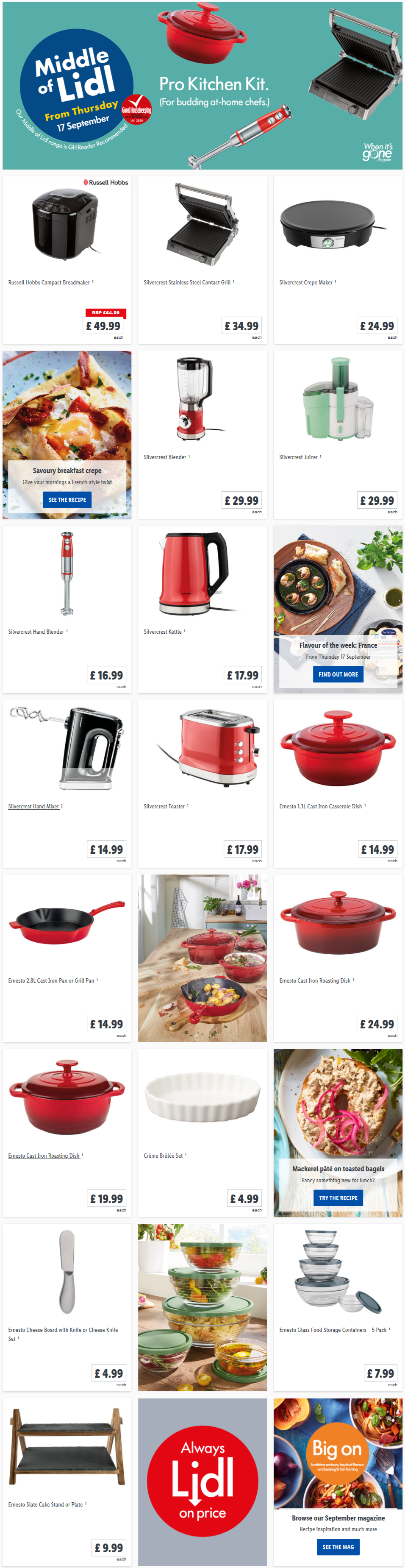 LIDL Offers this Thursday Pro Kitchen Kits From Thursday 17th September 2020
