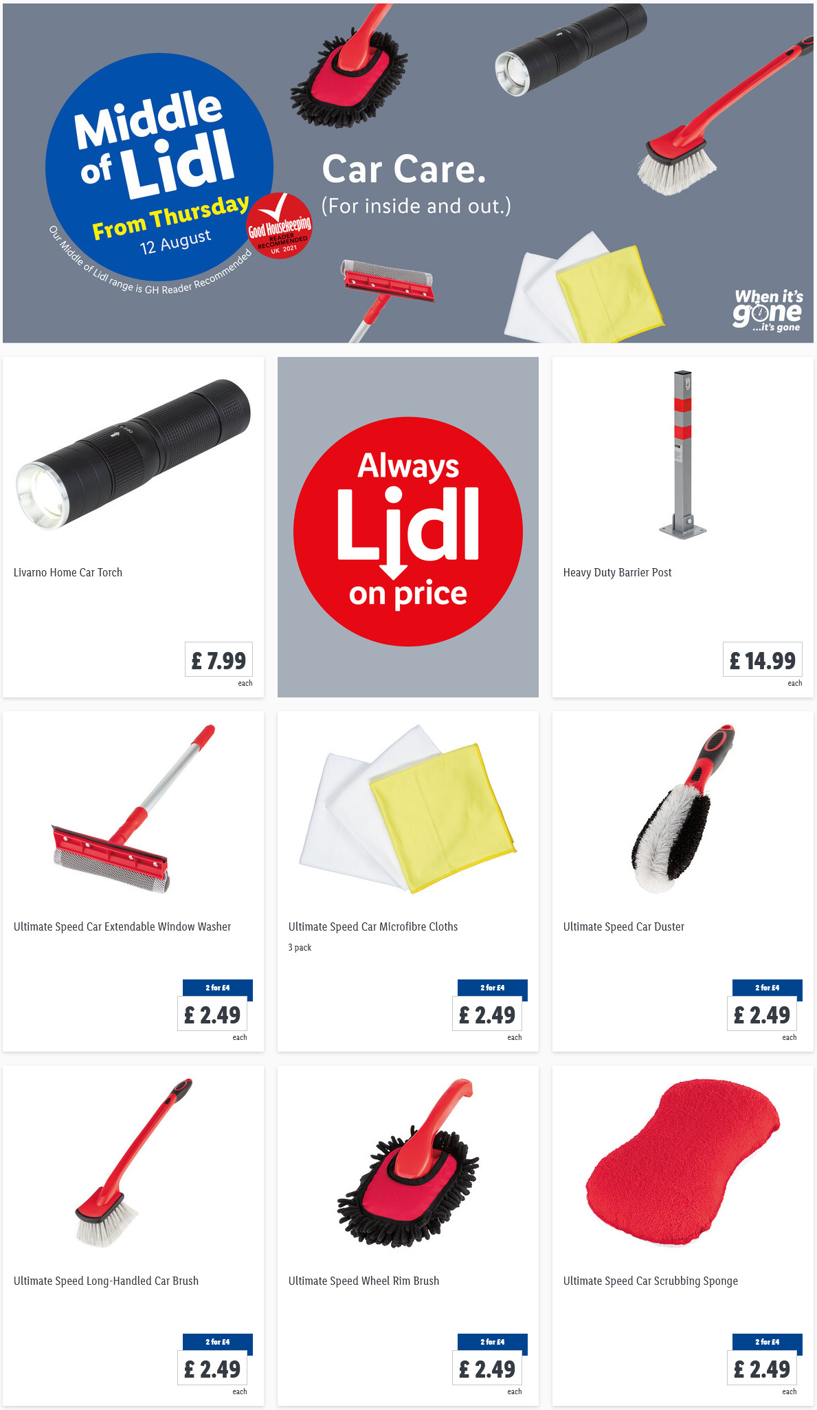 LIDL Offers this Thursday Car Care From 12th August 2021