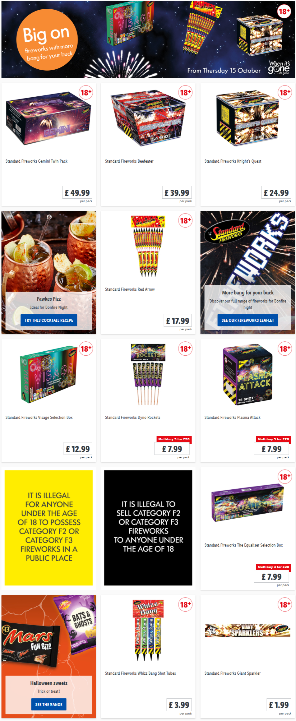 LIDL Offers this Thursday Fireworks From 15th October 2020