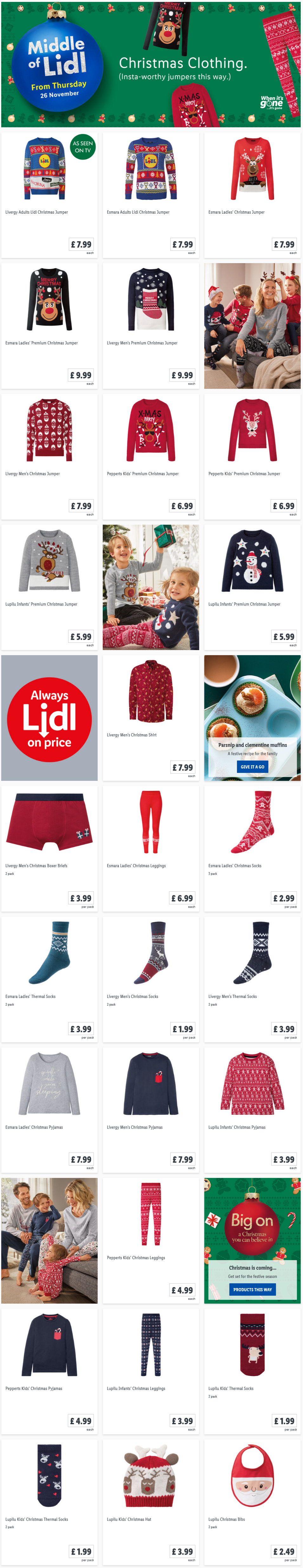 LIDL Offers this Thursday Christmas Clothing From 26th November 2020