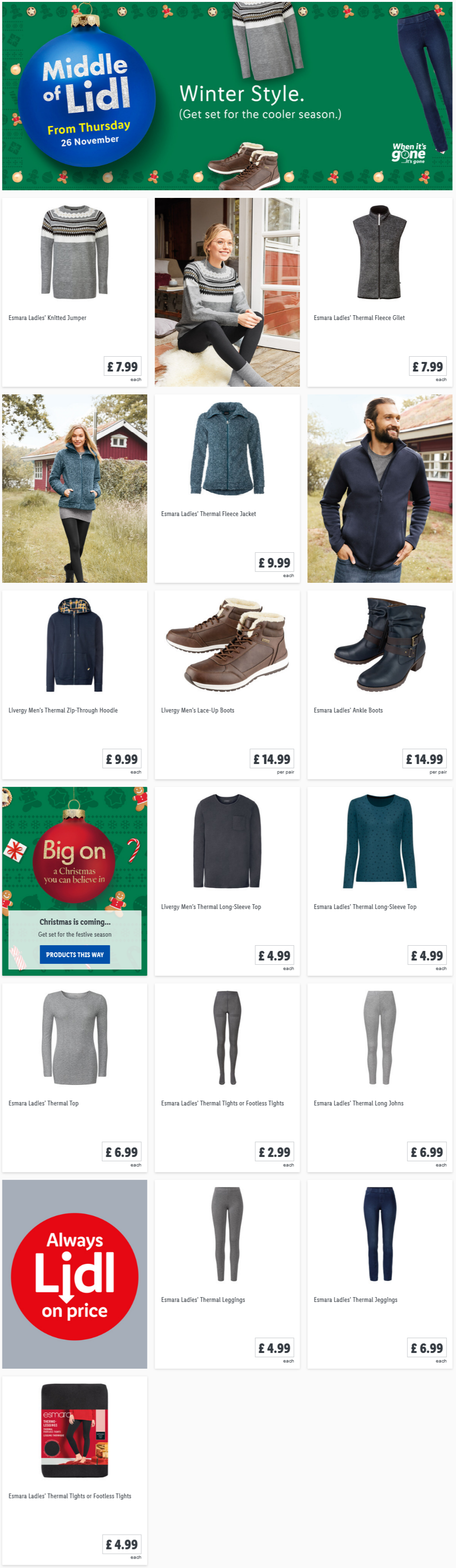 LIDL Offers this Thursday Winter Style From 26th November 2020