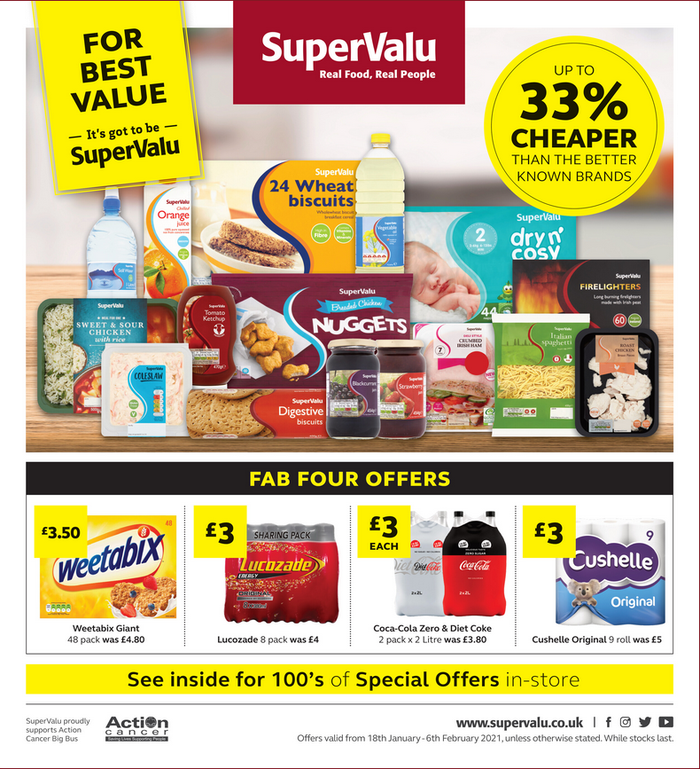 Supervalu Offers 18th January to 6th February 2021