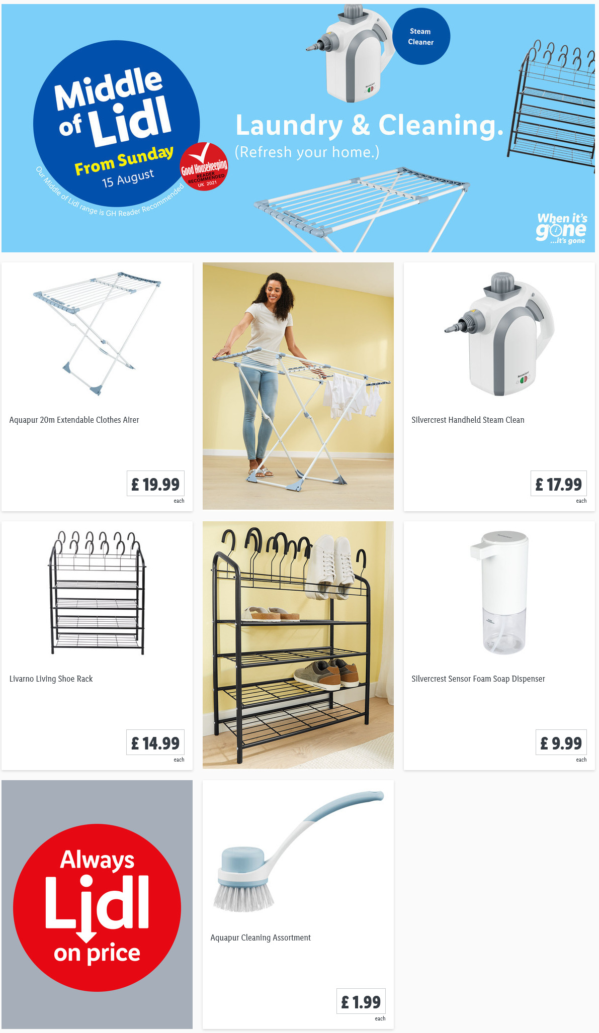 LIDL Sunday Offers Laundry & Cleaning from 15th August 2021