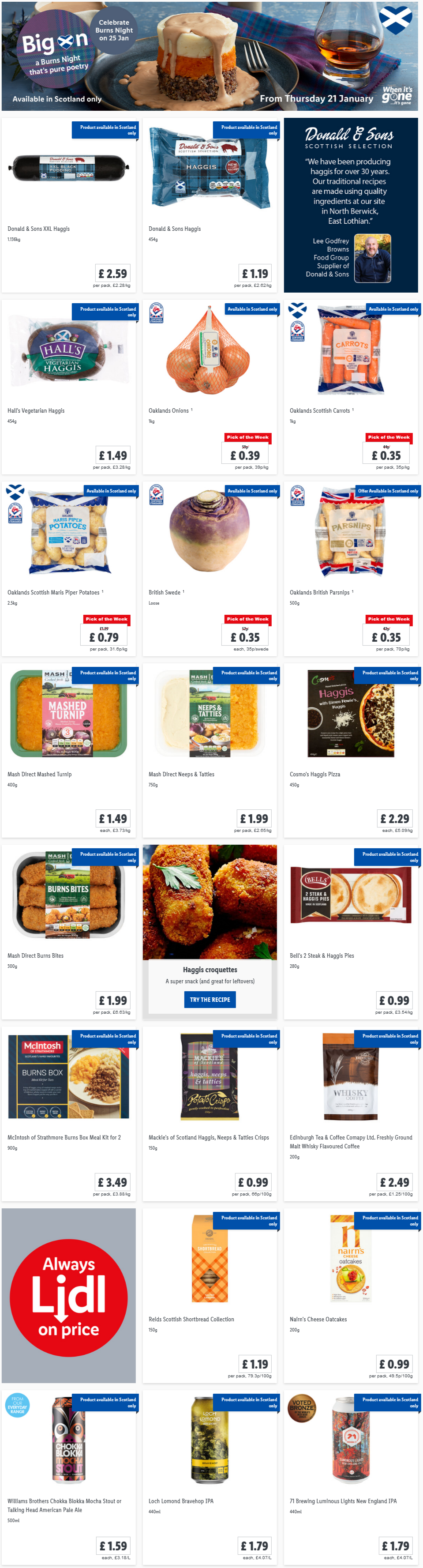 LIDL Offers this Thursday Burns Night From 21st January 2021 (Scotland Only)