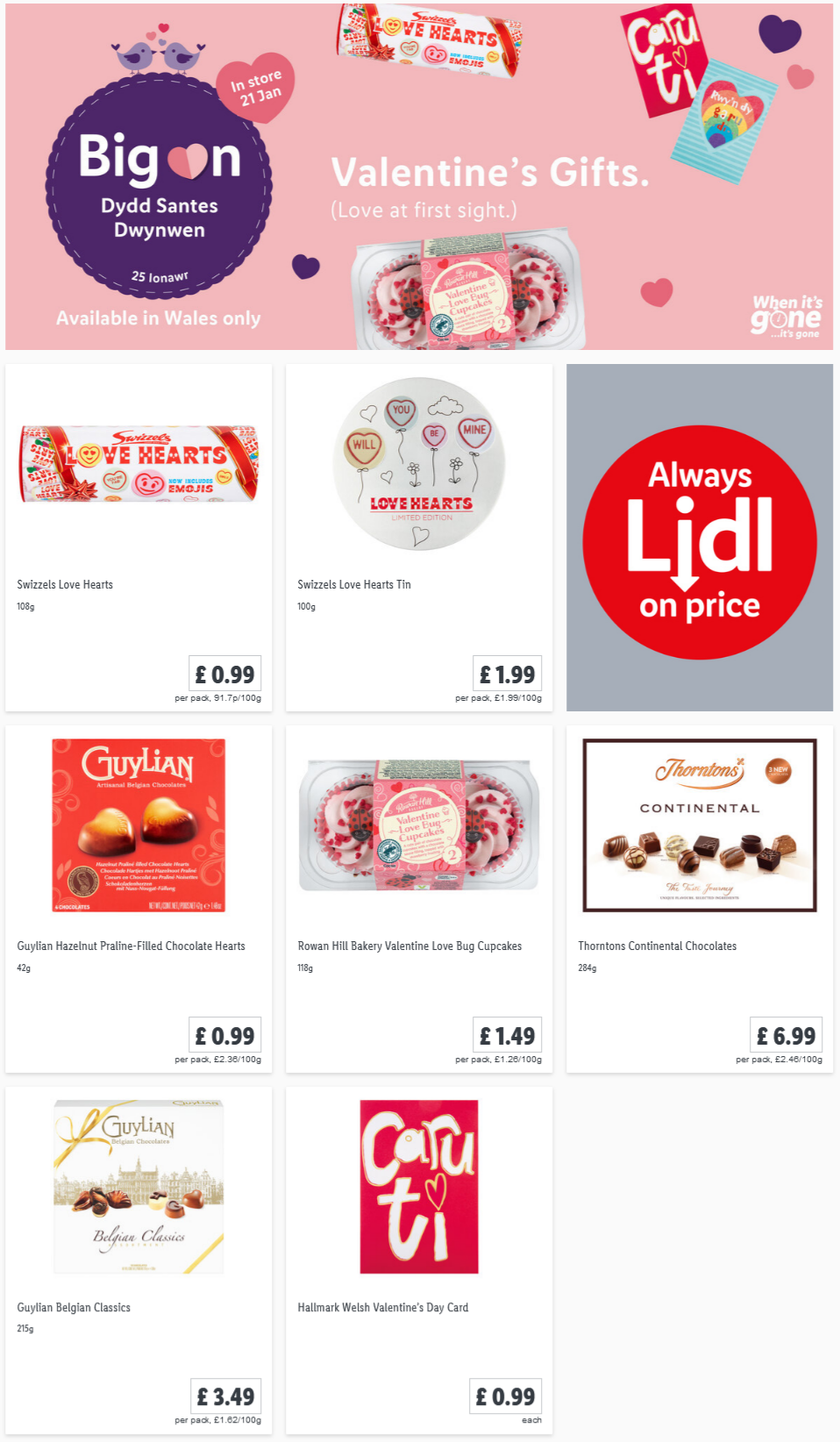 LIDL Offers this Thursday Welsh Valentines Day From 21st January 2021 (Wales Only)