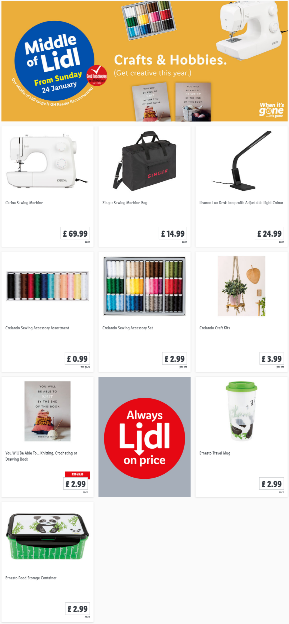 LIDL Sunday Offers Crafts & Hobbies from 24th January 2021