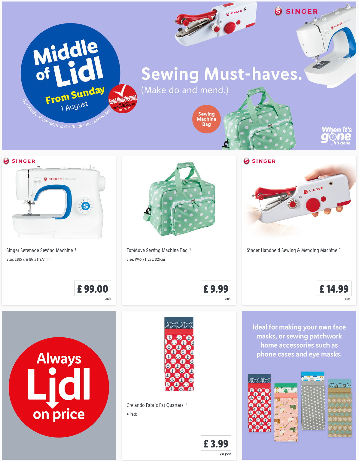 LIDL Sunday Offers Sewing Must Haves from 1st August 2021