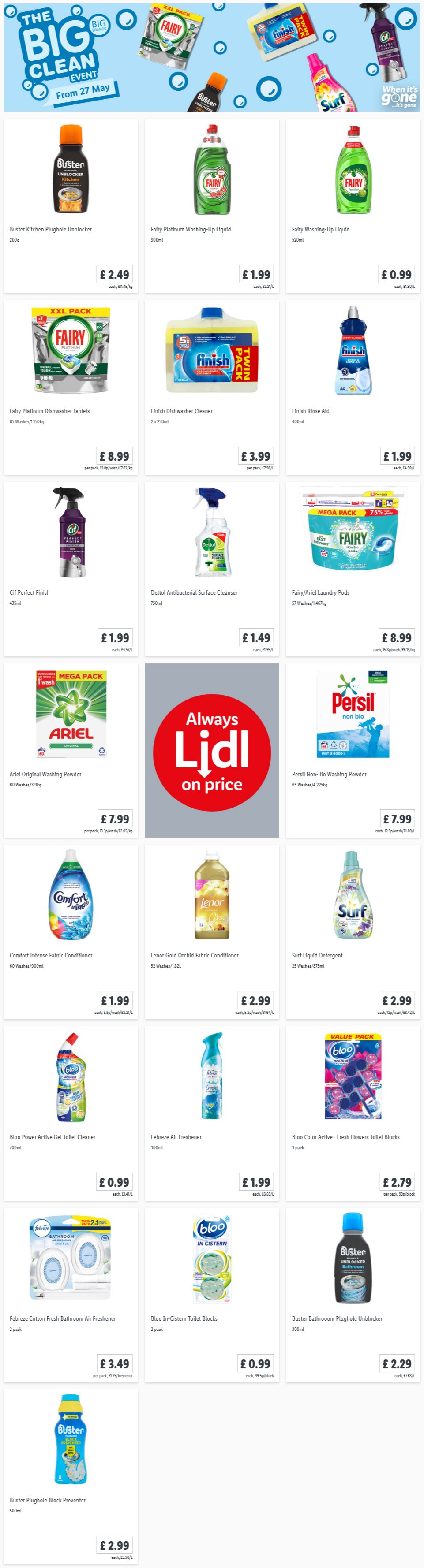 LIDL Offers this Thursday The Big Clean Event From 27th May 2021