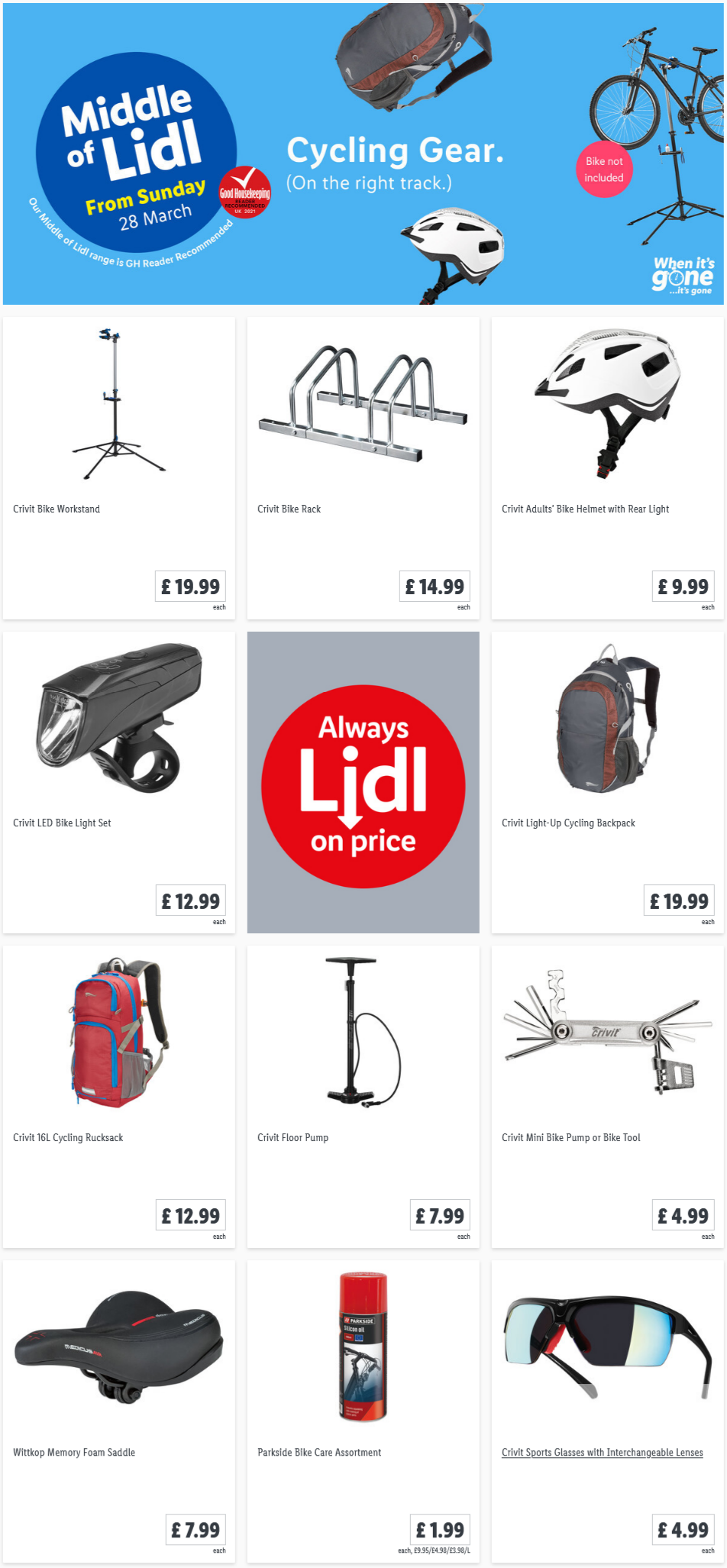 LIDL Sunday Offers Cycling Gear from 28th March 2021