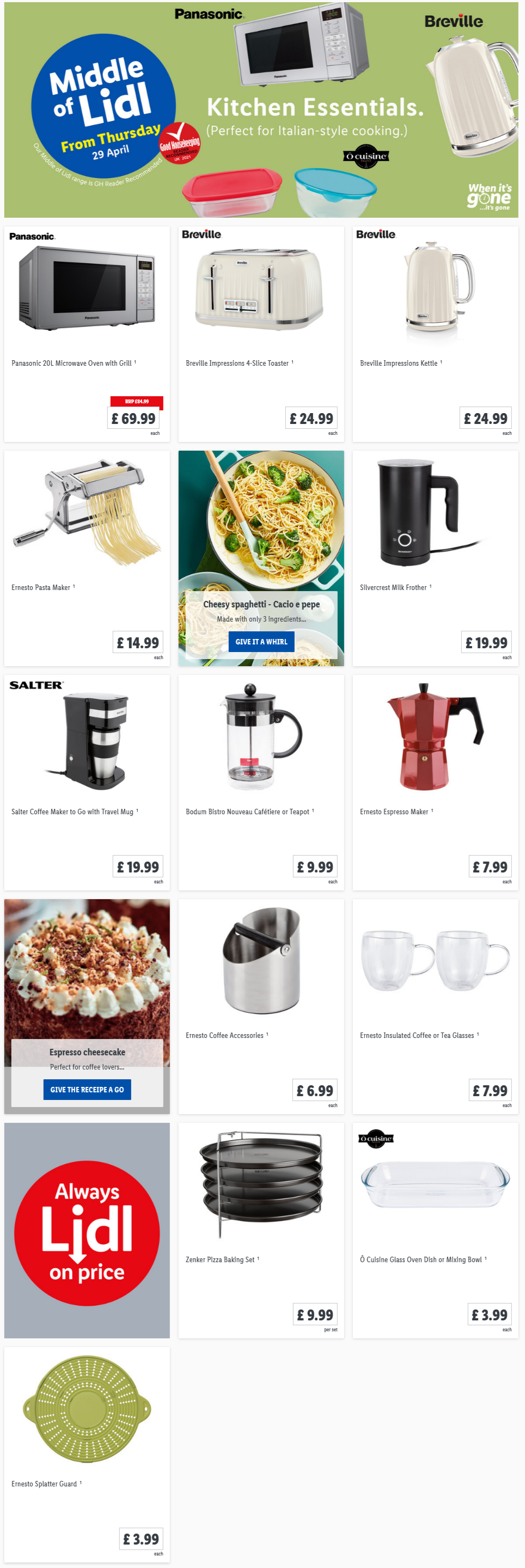 LIDL Offers this Thursday Kitchen Essentials From 29th April 2021