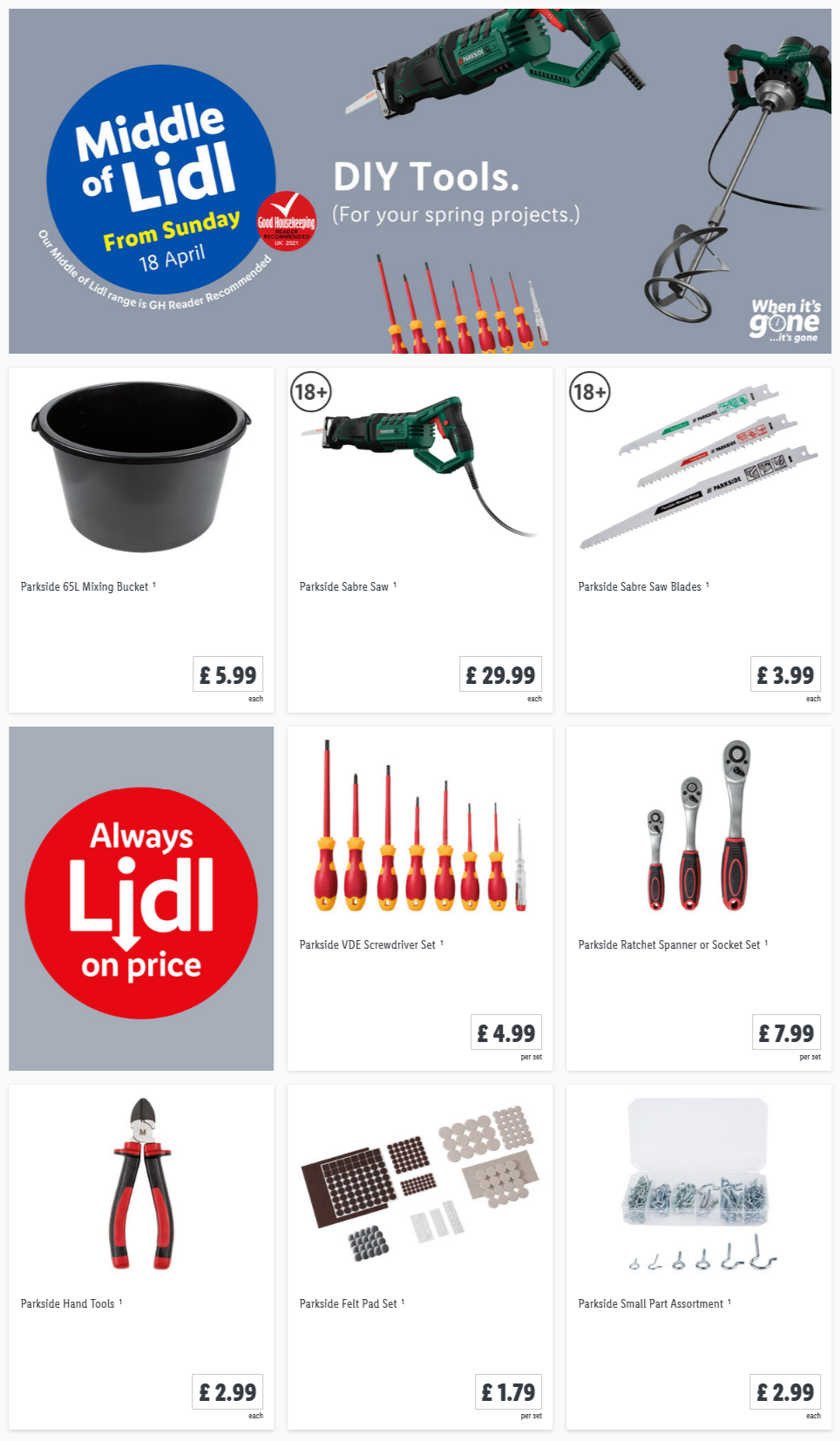 LIDL Sunday Offers DIY Tools from 18th April 2021