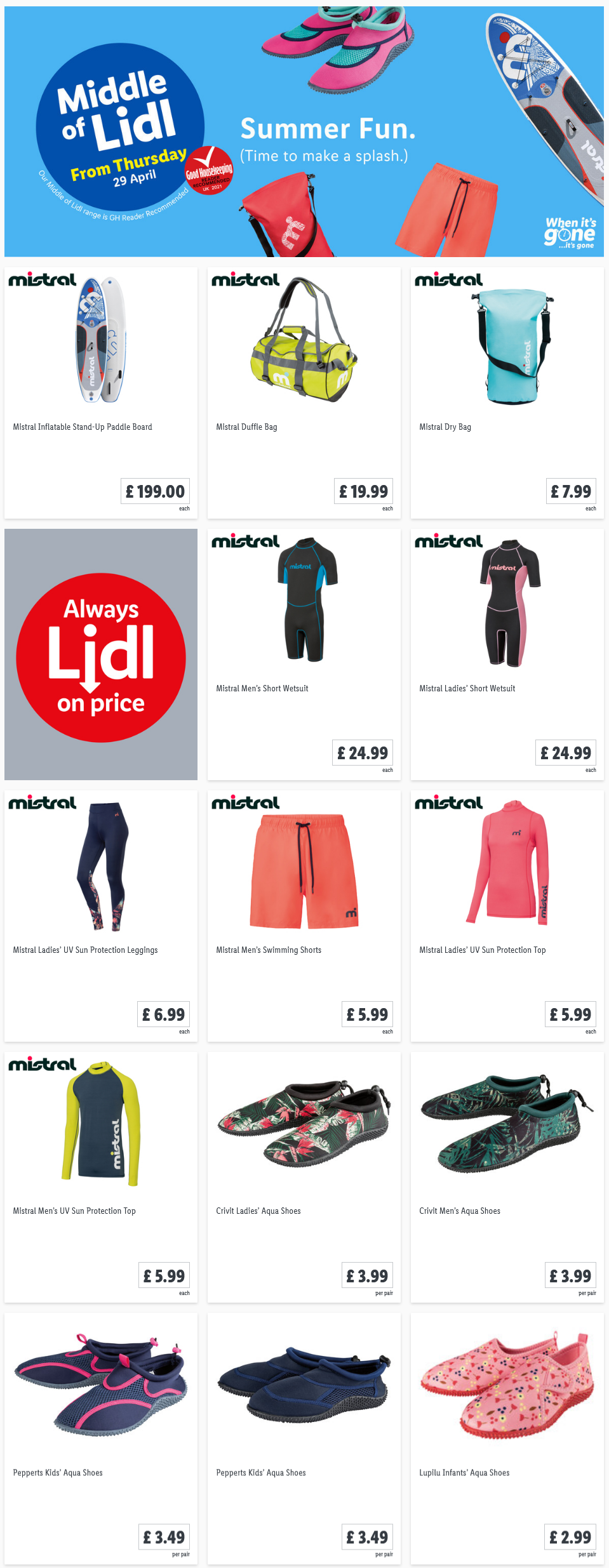 LIDL Offers this Thursday From 29th April 2021 LIDL Summer Fun