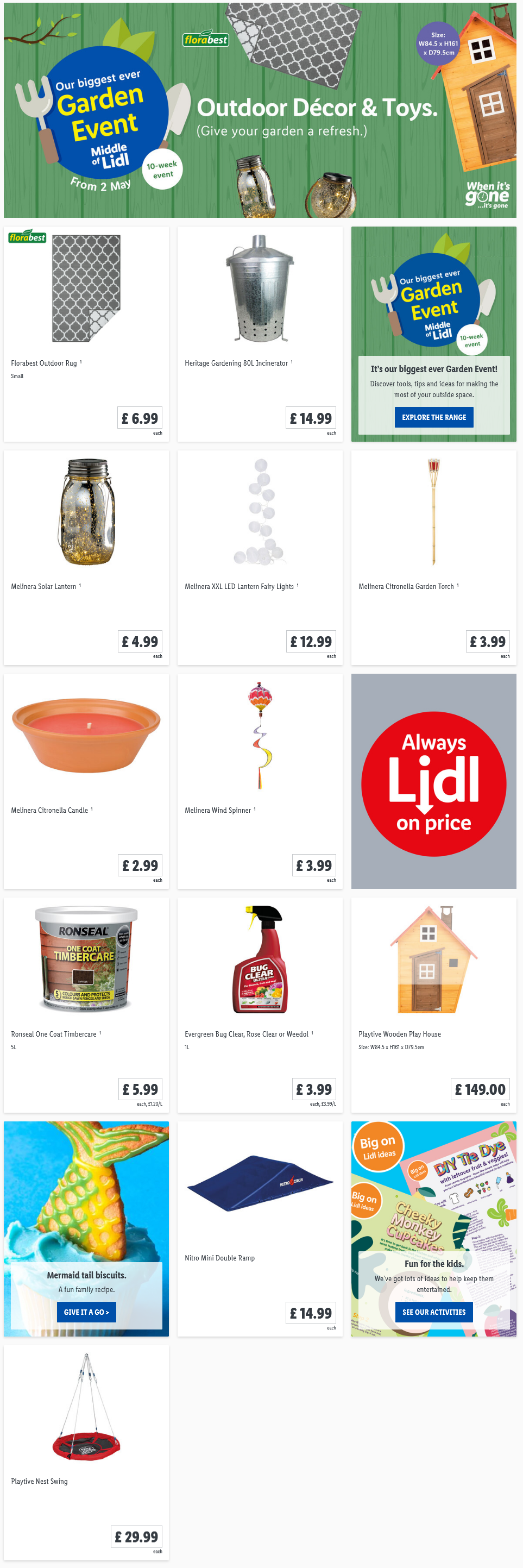 LIDL Sunday Offers Outdoor Decor from 2nd May 2021