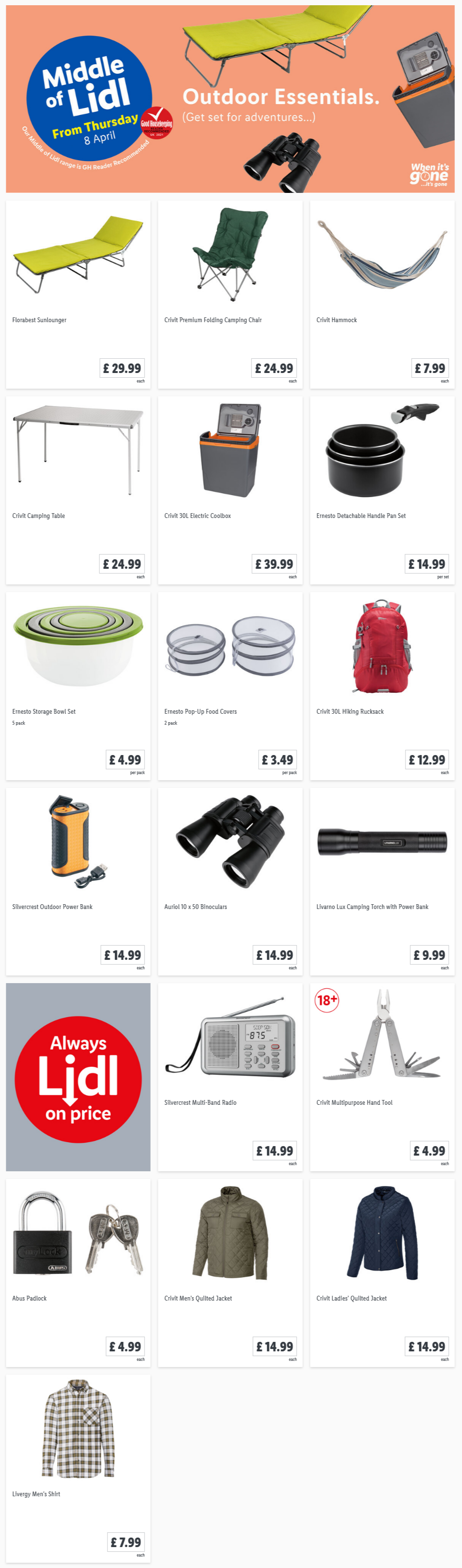 LIDL Offers this Thursday Outdoor Essentials From 8th April 2021