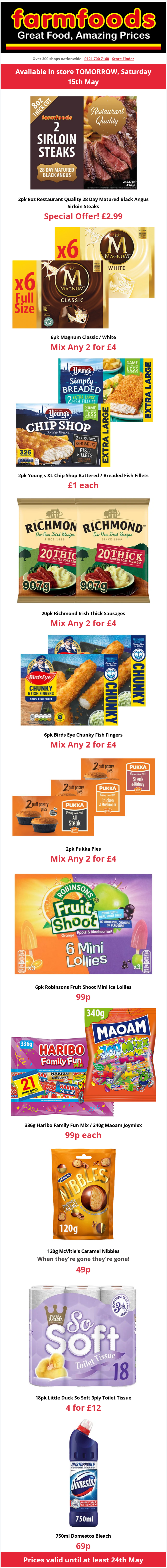 Farmfoods Offers Valid until at least 24th May 2021