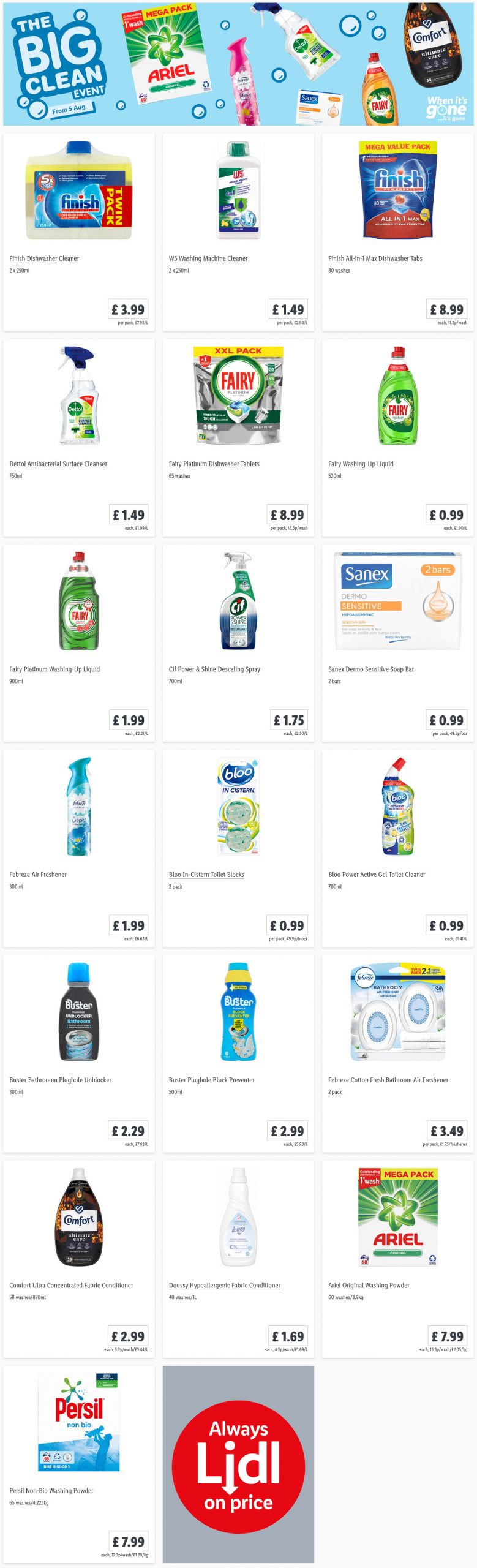 LIDL Offers this Thursday From 5th August 2021 LIDL The Big Clean Event