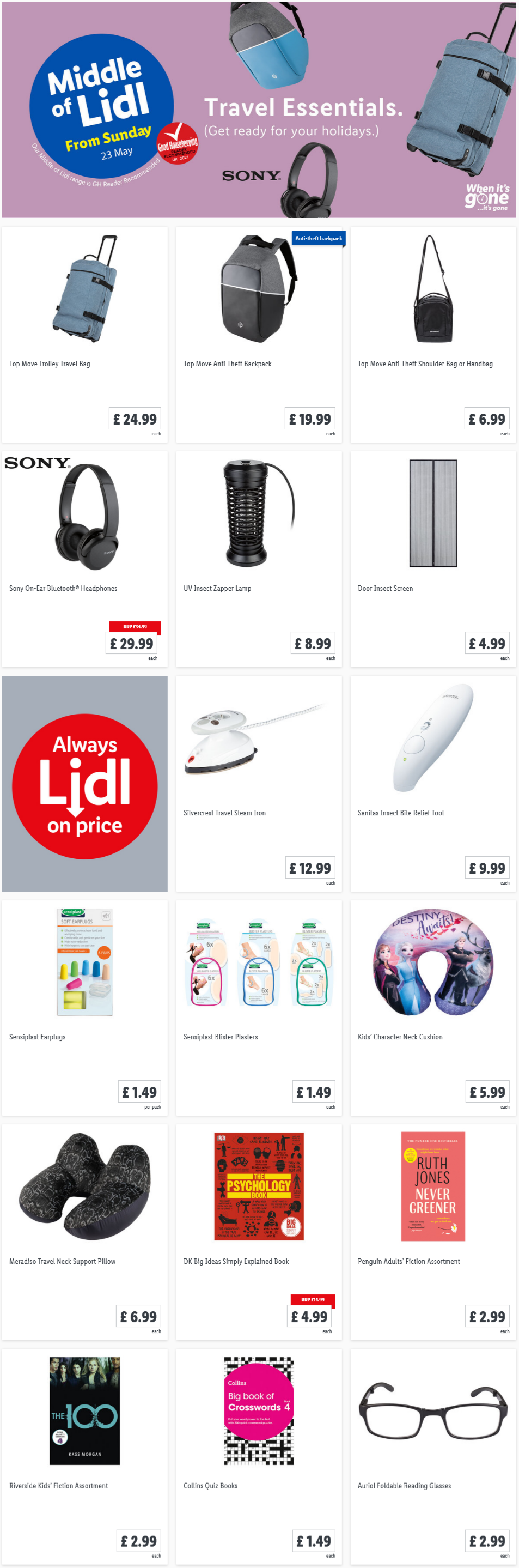 LIDL Sunday Offers Travel Essential from 23rd May 2021