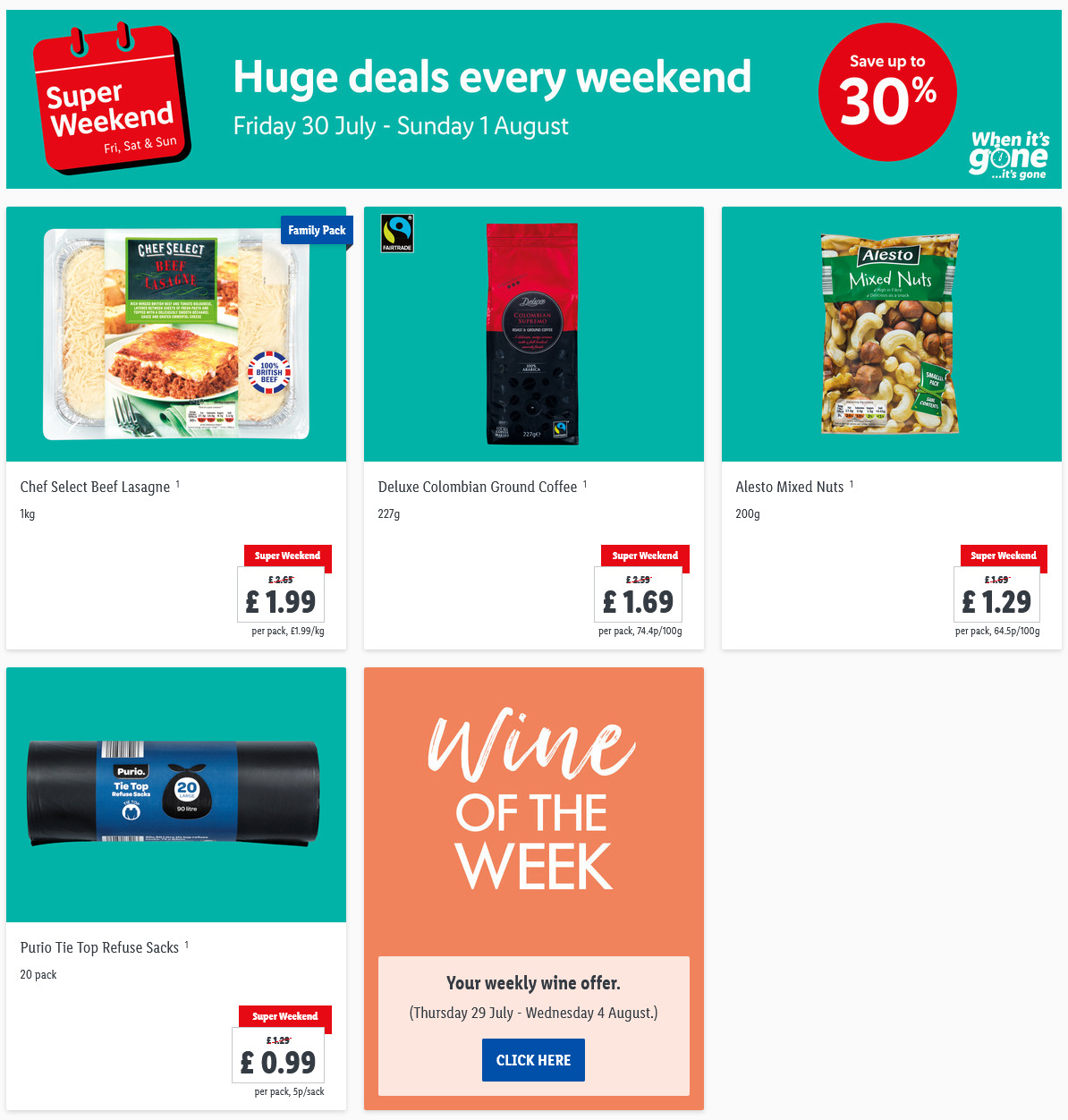 LiDL Weekend Offers Super Weekend 30th July - 1st August 2021