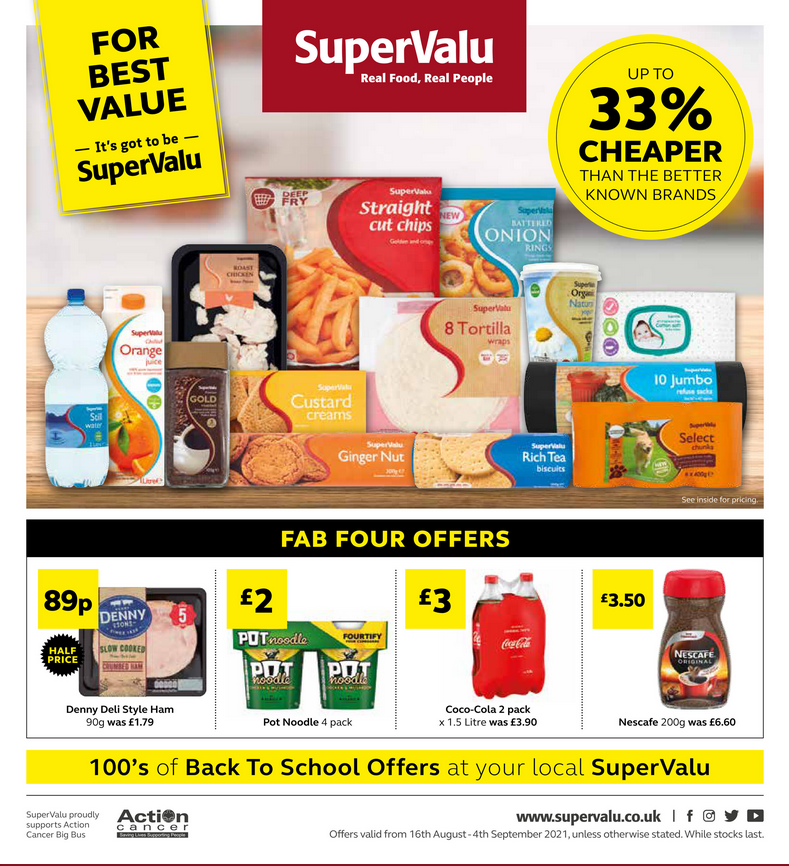 Supervalu Offers 16th August – 4th September 2021
