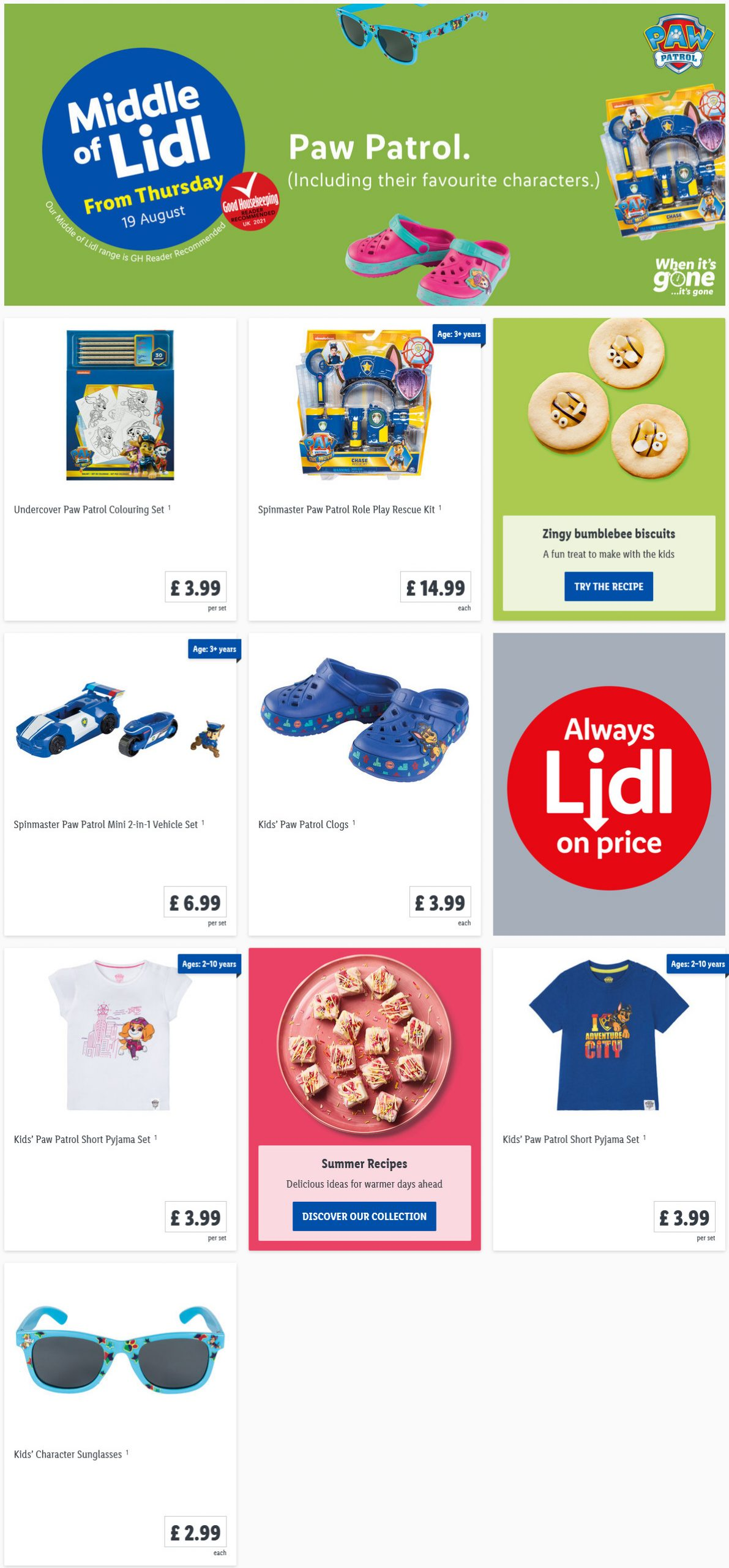 LIDL Offers this Thursday Paw Patrol From 19th August 2021