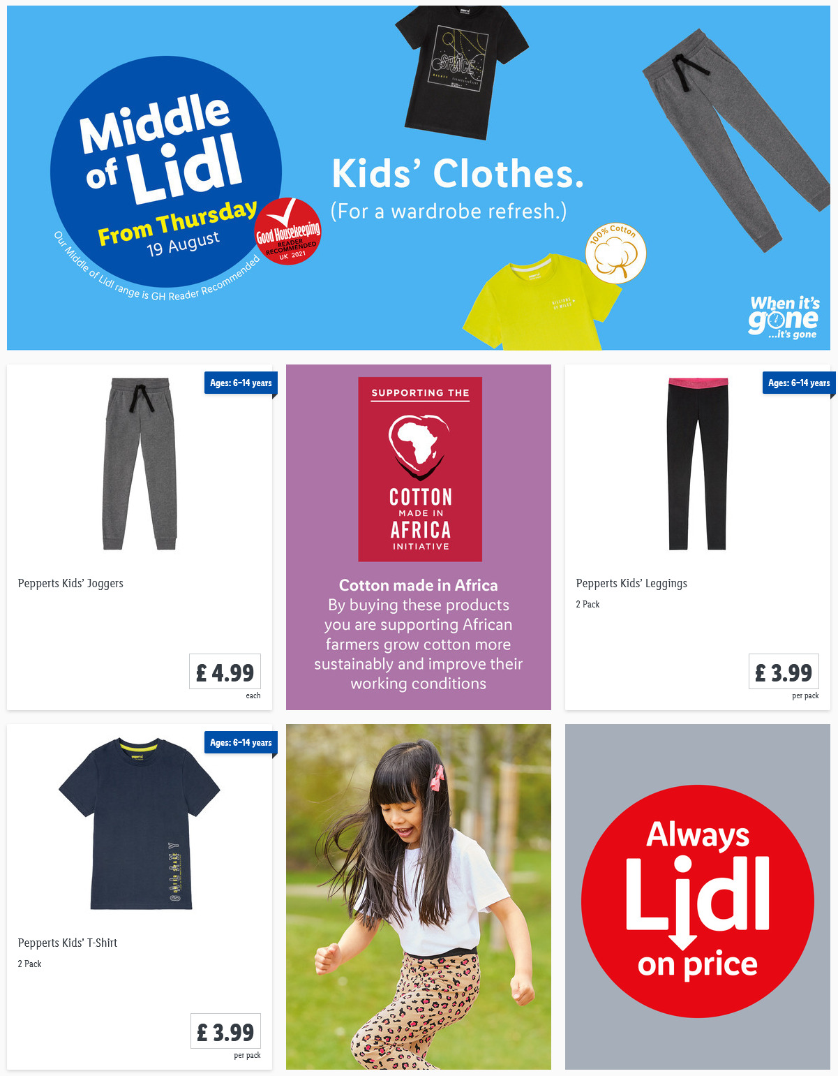 LIDL Offers this Thursday Kids' Clothes From 19th August 2021
