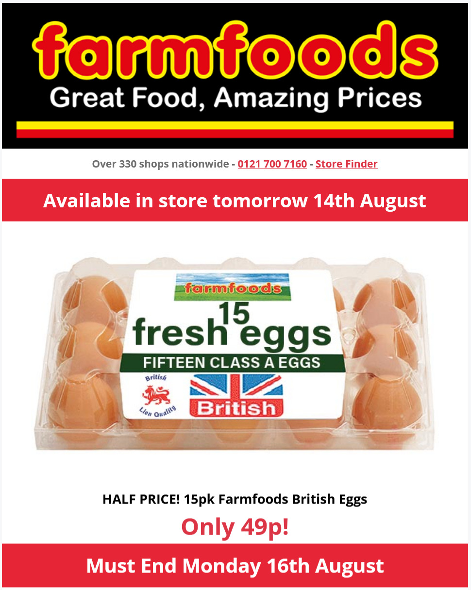 Farmfoods Offers Half Price Must end Monday, 16th August 2021