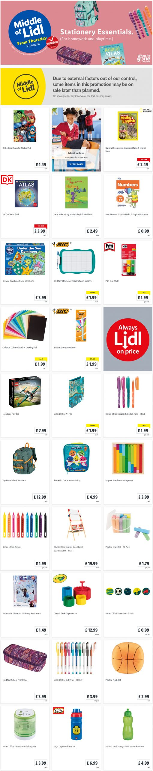 LIDL Offers this Thursday Stationery Essentials From 19th August 2021