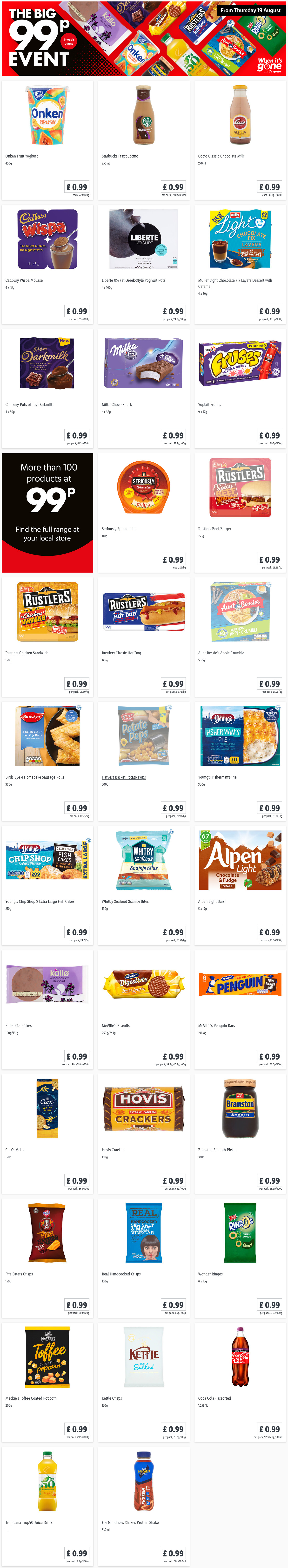LiDL The Big 99p Event in LiDL This Thursday Offers 19th August 2021