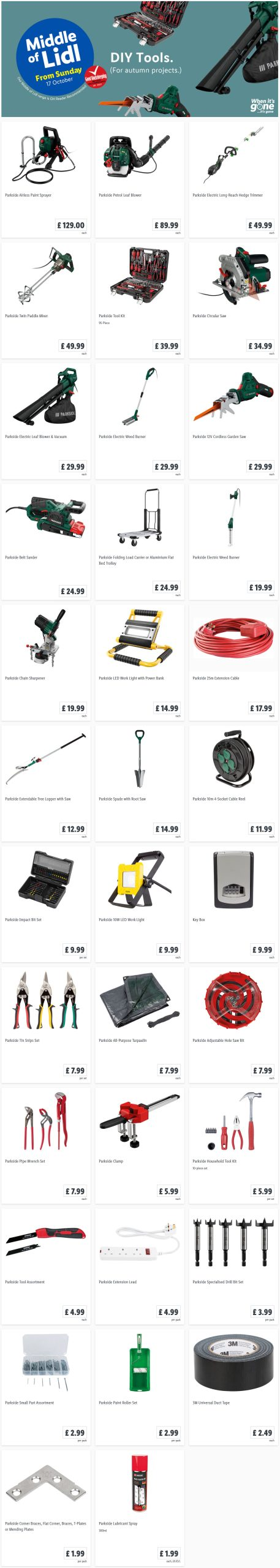 LIDL Sunday Offers DIY Tools from 17th October 2021